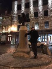 Christian in front of a statute of Louis XIV, Quebec City 2019.